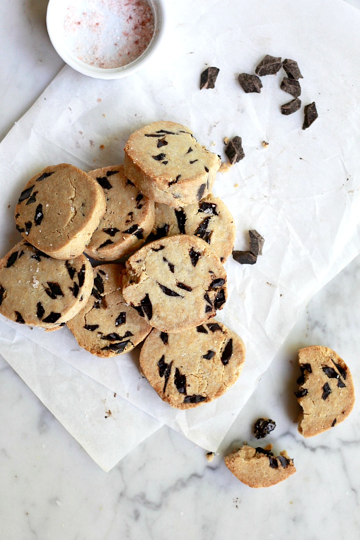These beautiful sliced chocolate chip cookies are made with healthy ingredients like almond meal and coconut oil.