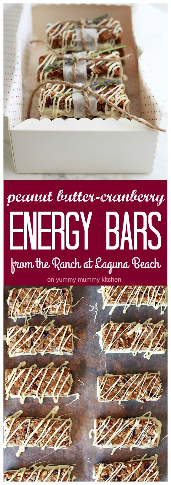 Peanut Butter Cranberry Energy bars drizzled in white chocolate.