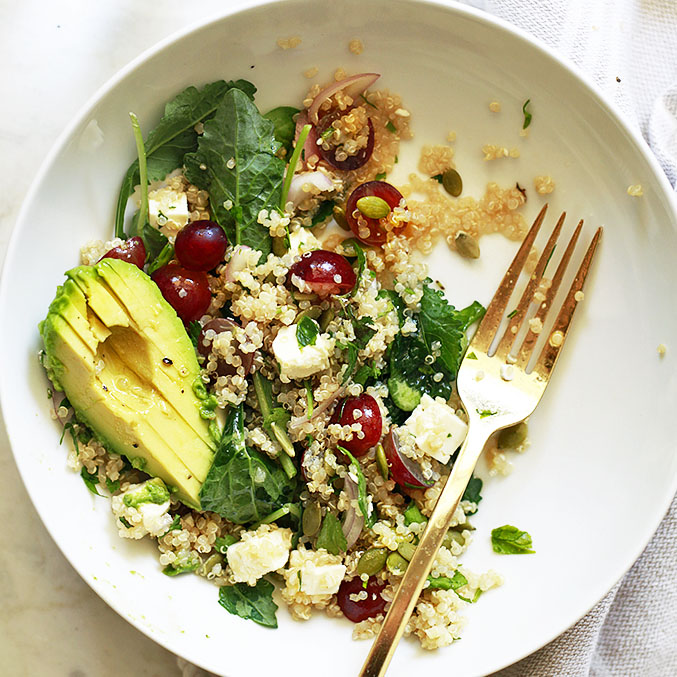 quinoa salad recipe with grapes and feta