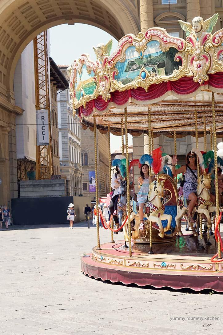 Florence, Italy antique carousel in Piazza della Repubblica.