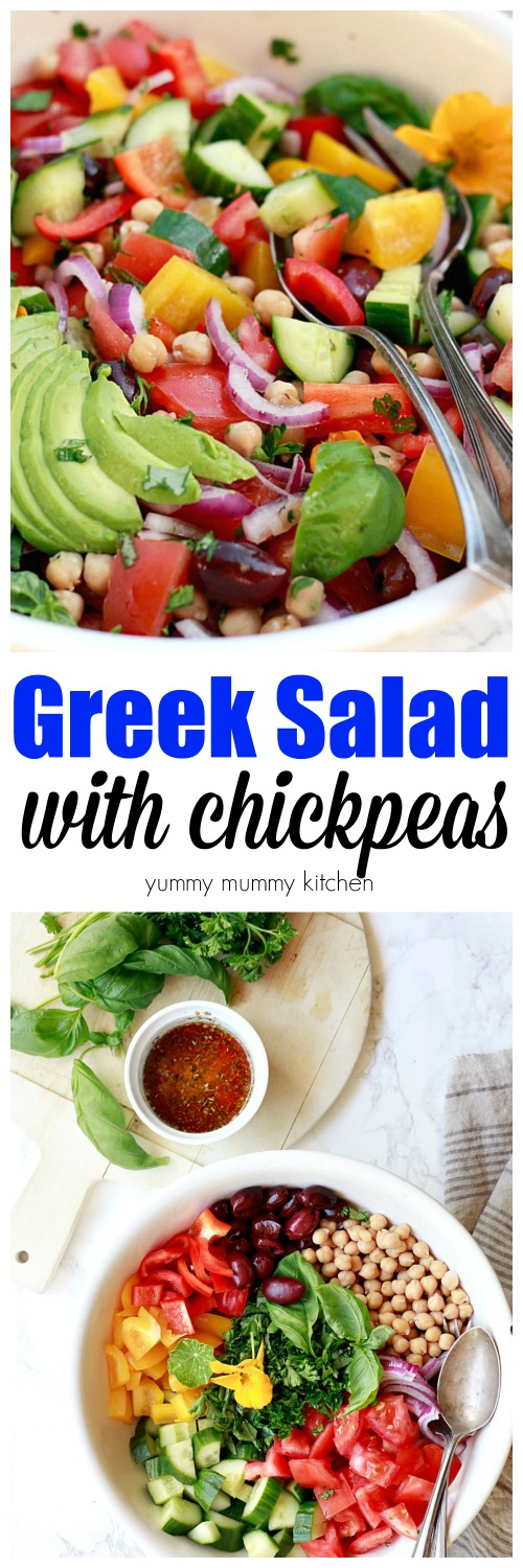 Healthy, easy, vegetarian and vegan Greek salad recipe with chickpeas and a flavorful Greek salad dressing.