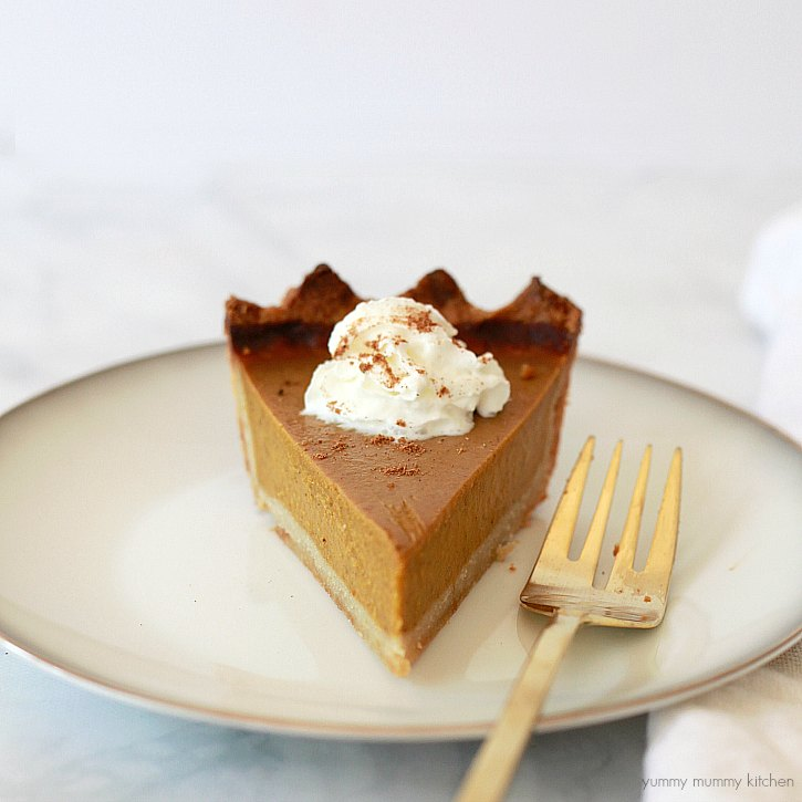 This delicious vegan pumpkin pie is perfect for Thanksgiving or any day! Vegan and gluten free, this pie is made with coconut milk and has an almond flour crust.