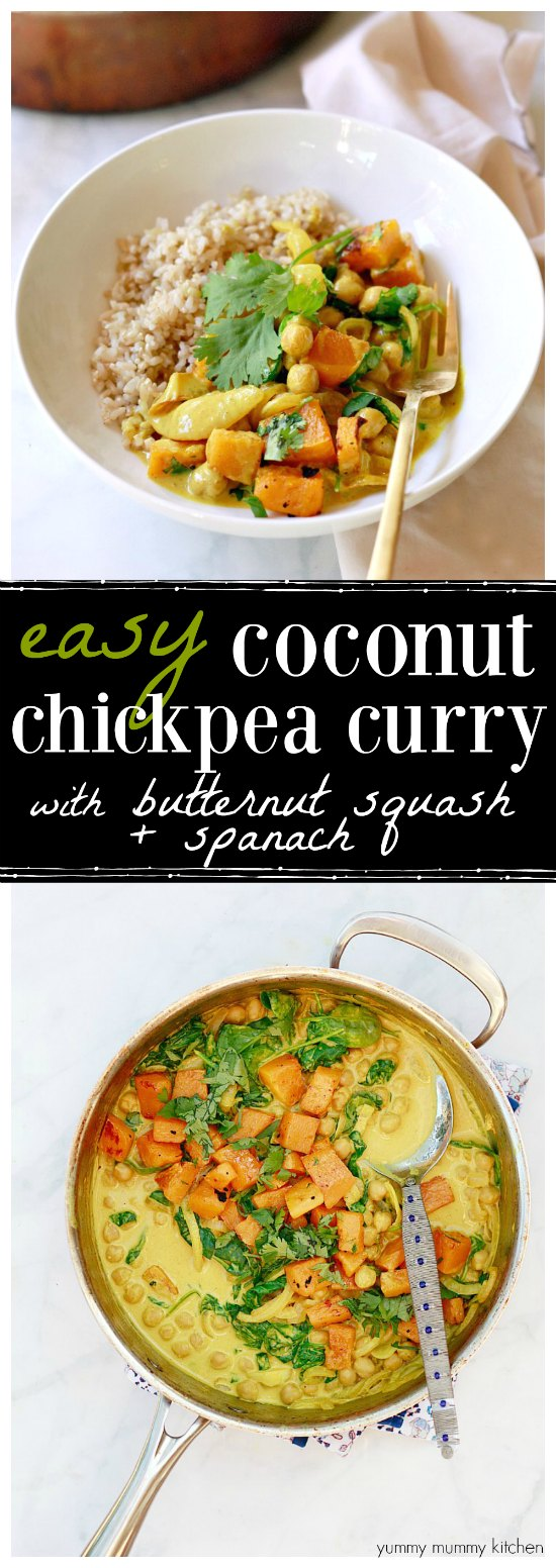 This easy coconut chickpea curry is such a delicious and nourishing vegan meal! I love the roasted butternut squash and fresh spinach in here!