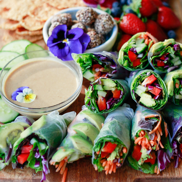 Vegan rice paper spring rolls beautiful vegan spring rolls with avocado carrots and bell pepper and a peanut forumfinder Gallery