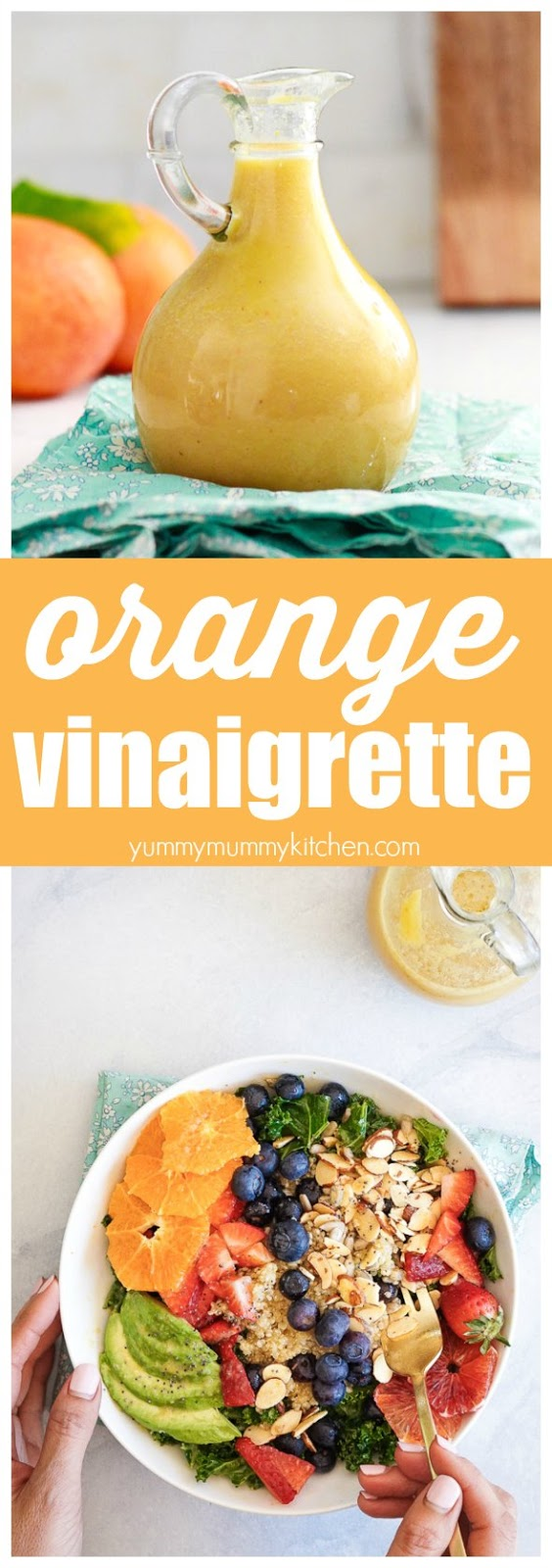 This easy orange citrus vinaigrette is made in the blender and is so delicious on green salads like this superfood kale salad with berries and quinoa. This is one of my favorite vegan, vegetarian, gluten-free lunch ideas!