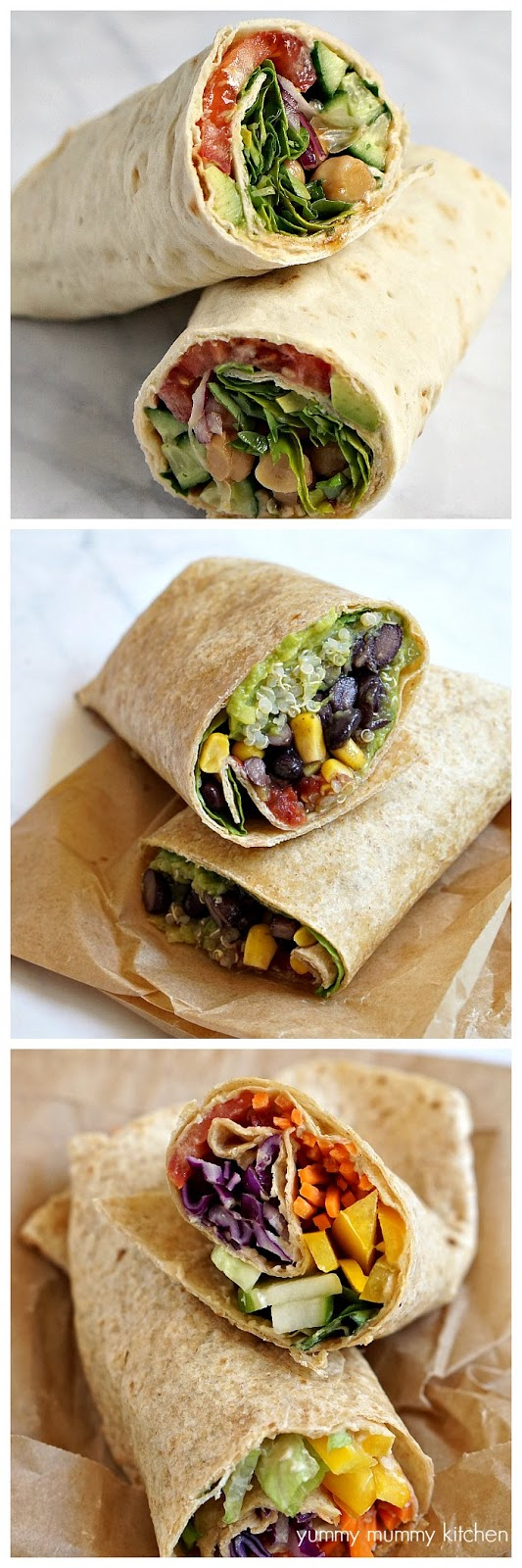 These vegetarian and vegan tortilla or lavash wrap recipes are perfect for packed lunches.