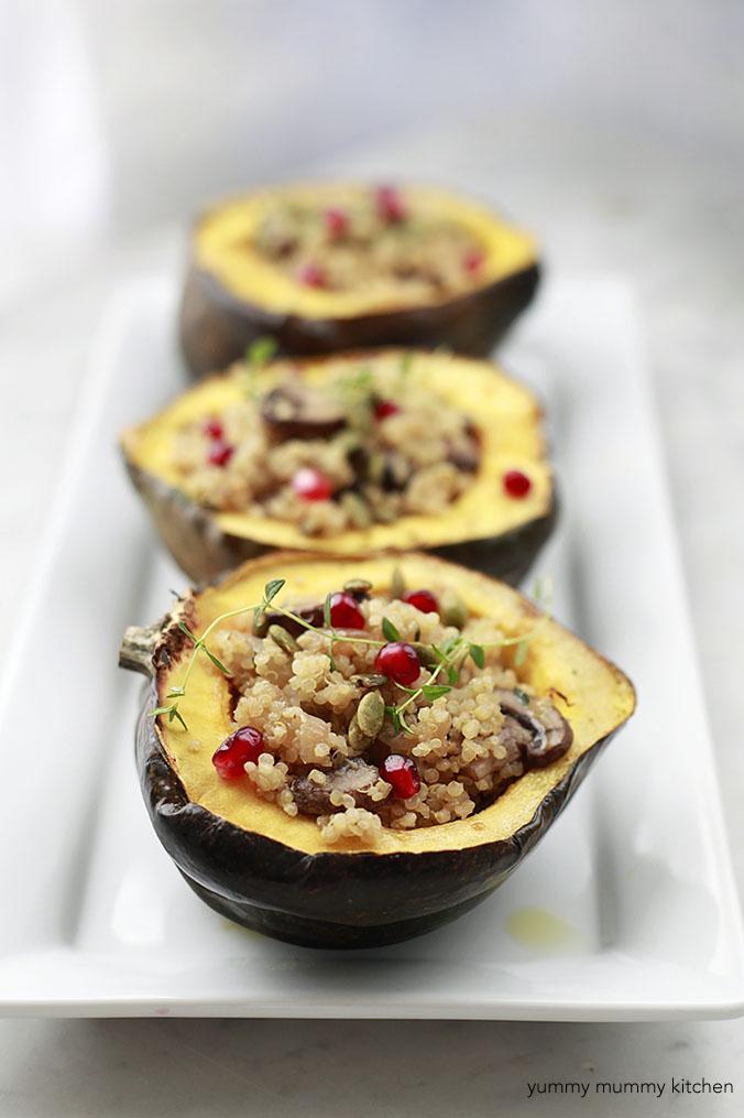 acorn squash stuffed with mushroom quinoa for a vegetarian fall dinner