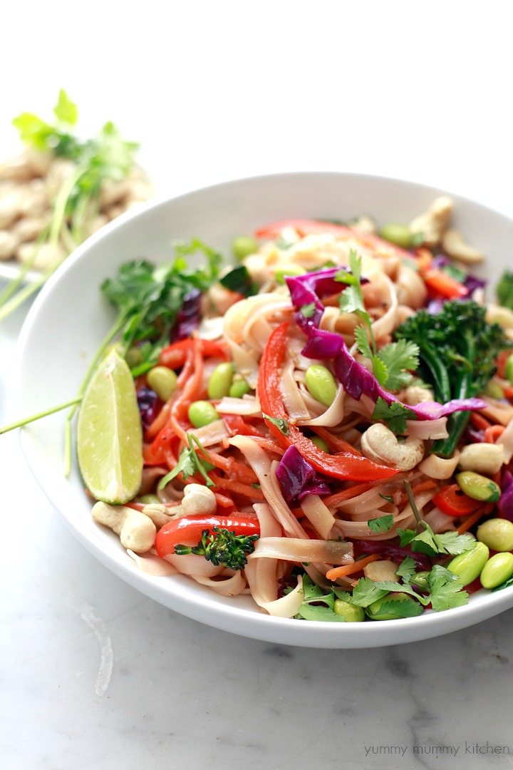 Beautiful, delicious, and healthy rainbow veggie pad Thai is vegetarian, vegan, and gluten free.