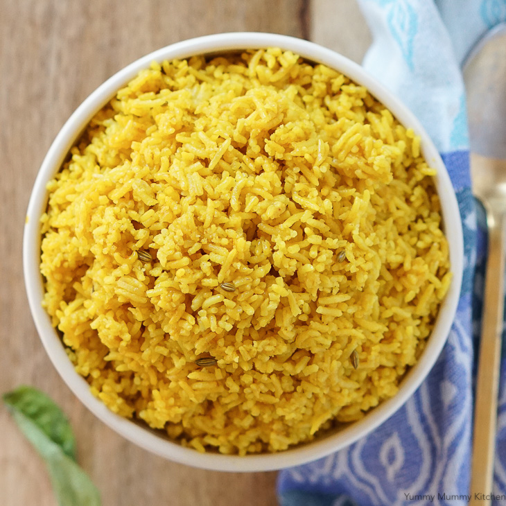 An aromatic Indian inspired spiced turmeric rice that's the perfect accompaniment to curries.