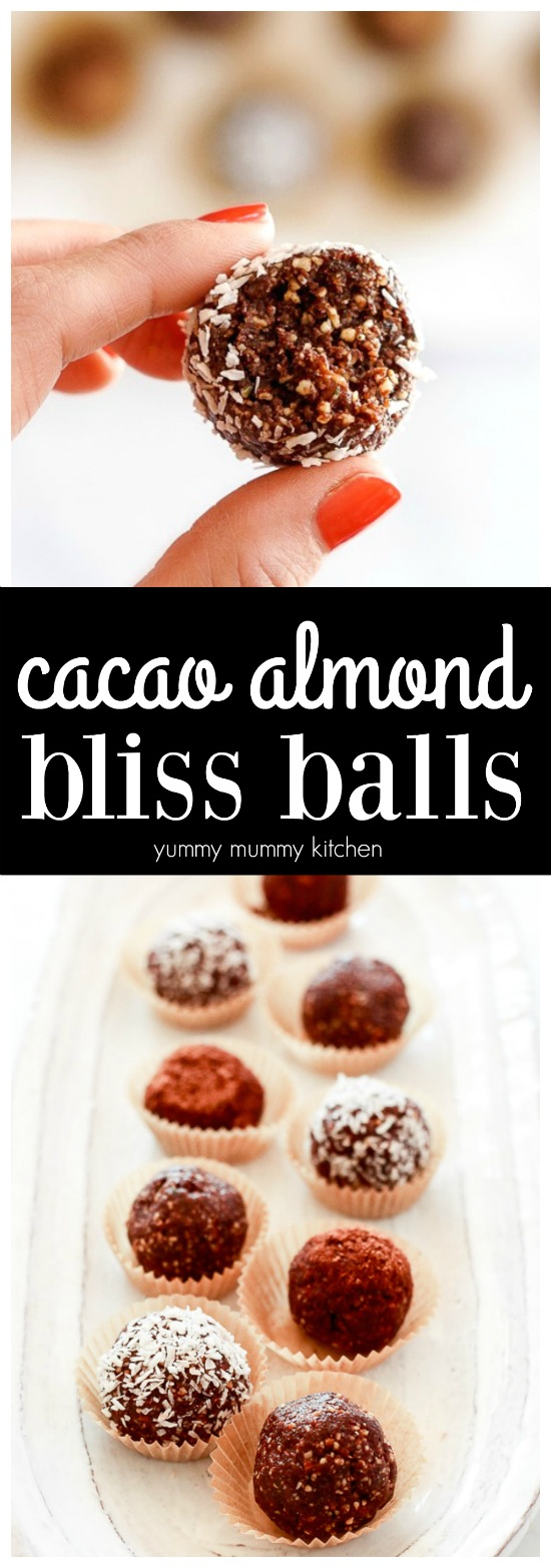 This easy recipe makes the best chocolate bliss balls! Made with dates, nuts, cacao, and hemp seeds, these healthier treats are vegan, gluten-free, and paleo. I love these for food prep days!