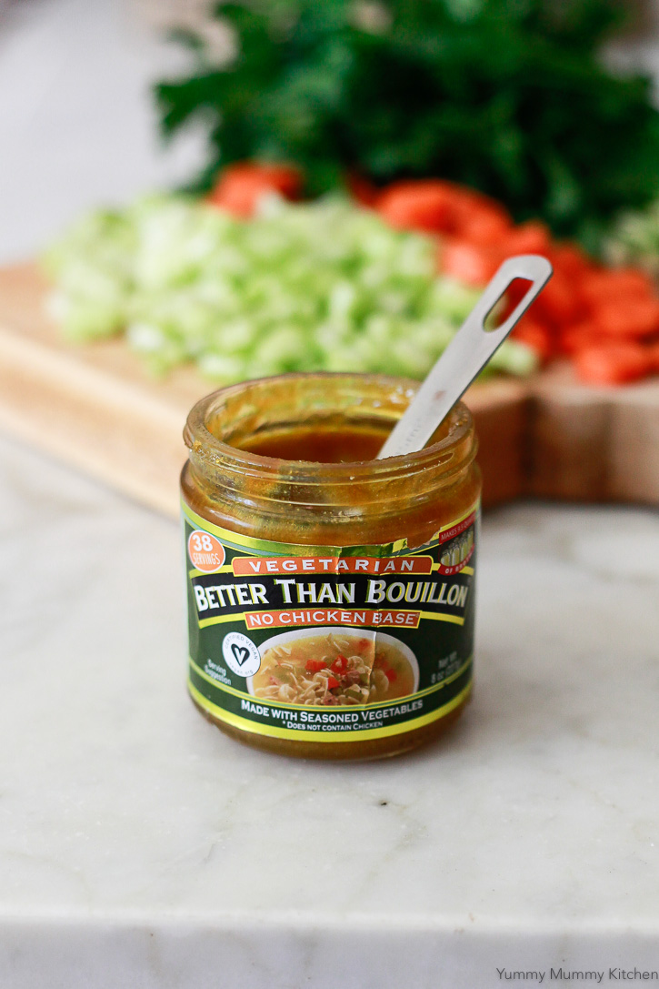 A jar of Better than Bouillon No Chicken Base. This base makes the best vegetarian and vegan chicken soup.