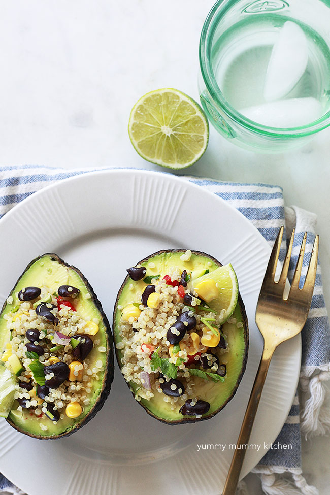avocados stuffed with quinoa salad