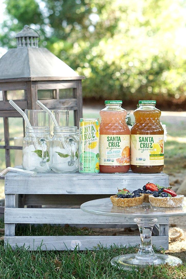 A beautiful backyard picnic with Santa Cruz Organic lemonades
