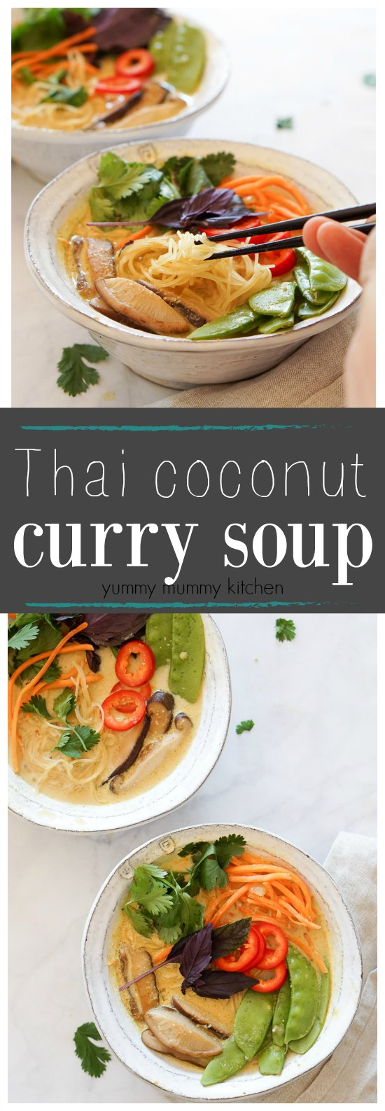 Curry soup with rice noodles, veggies, and coconut milk. This delicious and easy curry soup is #vegan.