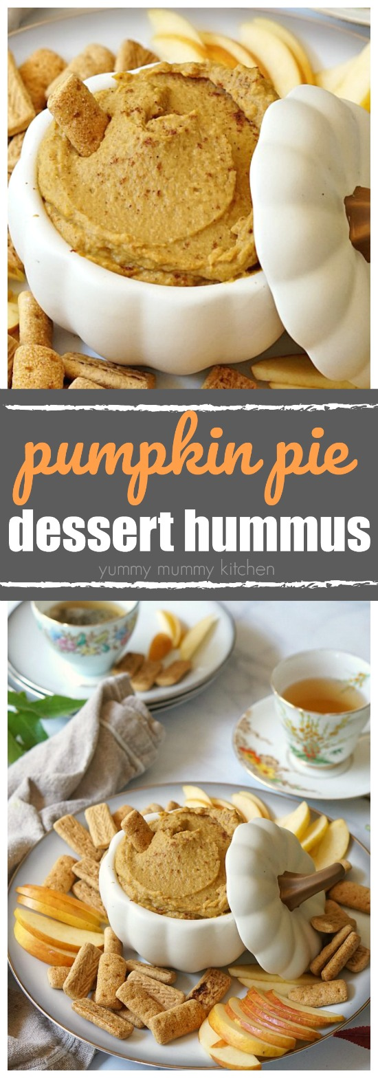 This sweet pumpkin dessert hummus tastes just like pumpkin pie! It's filling, nourishing, and easy to make.
