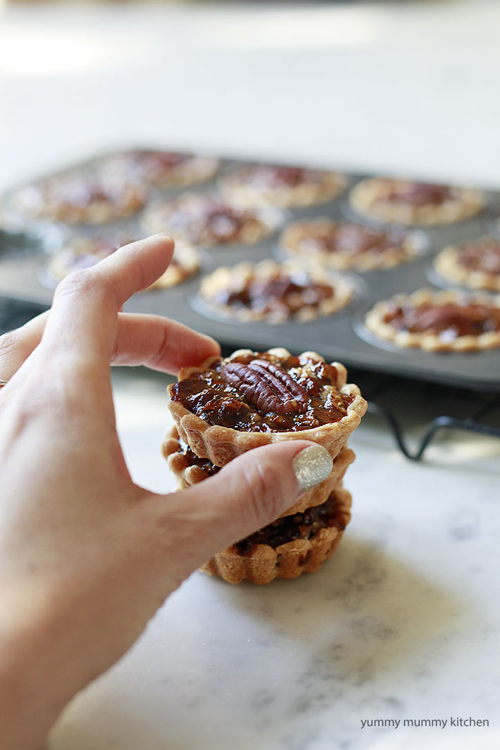 Cute mini vegan pecan pies are perfect for a vegan Christmas dessert.