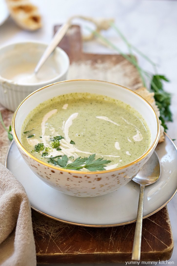 This easy vegan broccoli soup has cashew cream mixed in and swirled on top for extra creaminess.