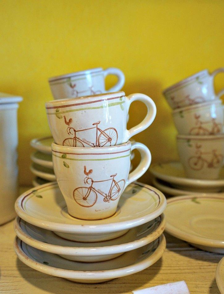Handmade ceramic espresso cups in Radda in Chianti, Tuscany.