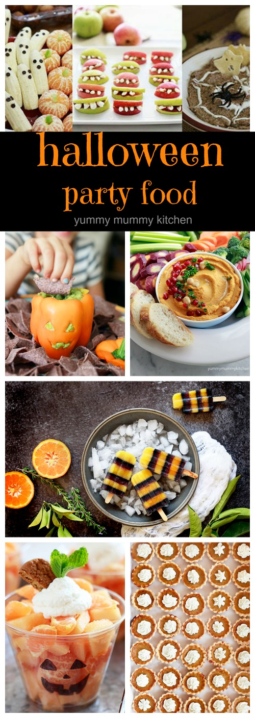 Delicious, cute, and fun Halloween party food ideas and recipes for kids and adults. I love some of these healthier Halloween food ideas like banana ghosts, monster mouths, and mini pumpkin pies.