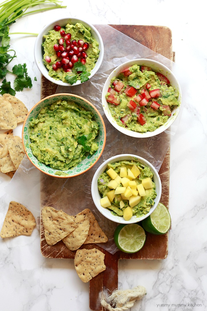 A simple guacamole recipe plus three toppings perfect for a taco bar or any party.