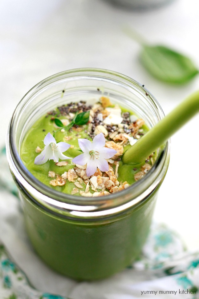 Green and Glowing Smoothie recipe inspired by Whole Foods. This vegan green smoothie has tropical flavors, flax, coconut, and baby spinach.