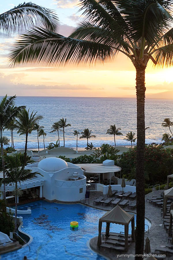 A beautiful sunset view of the pool at the Fairmont Kea Lani Maui