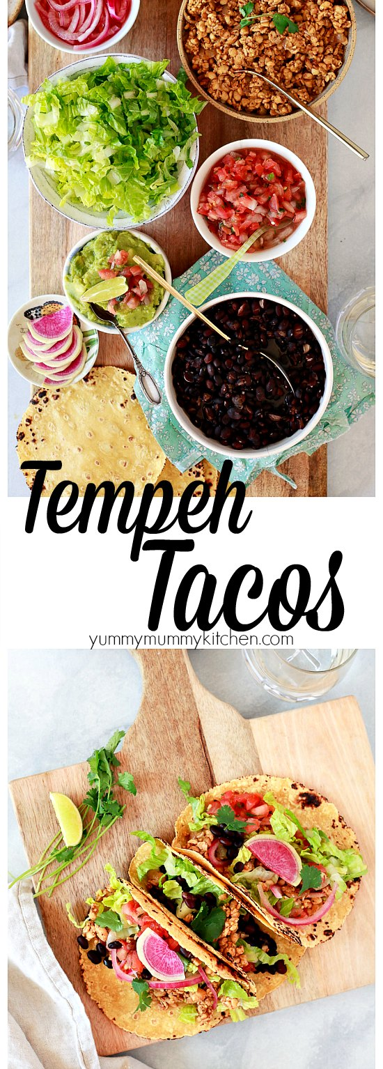 Find out how to make delicious tempeh tacos with this easy recipe. Tempeh tacos are an easy vegan and vegetarian dinner idea. I love serving them on a taco bar DIY style.