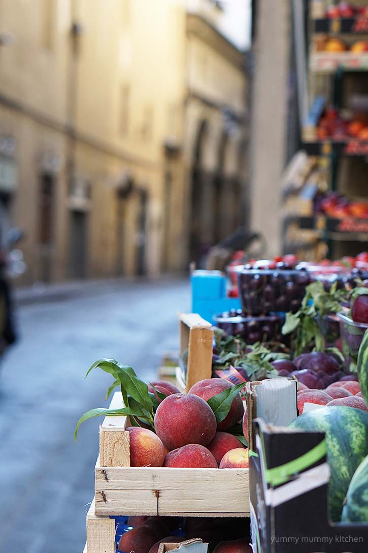Beautiful fresh fruit and vegetables in Florence Italy