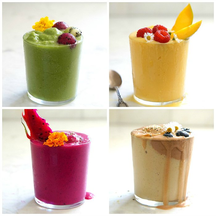 Four colorful superfood smoothie recipes.