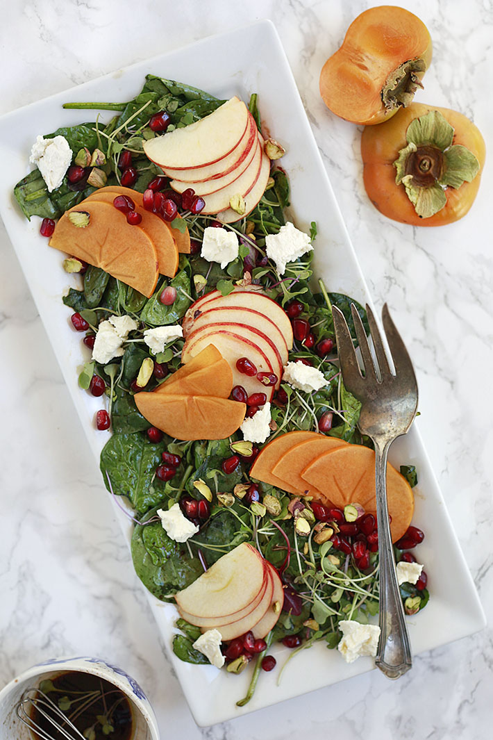 Thanksgiving salad with persimmons and apples