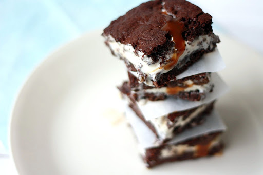 Brownie and Salted Caramel Ice Cream Sandwiches