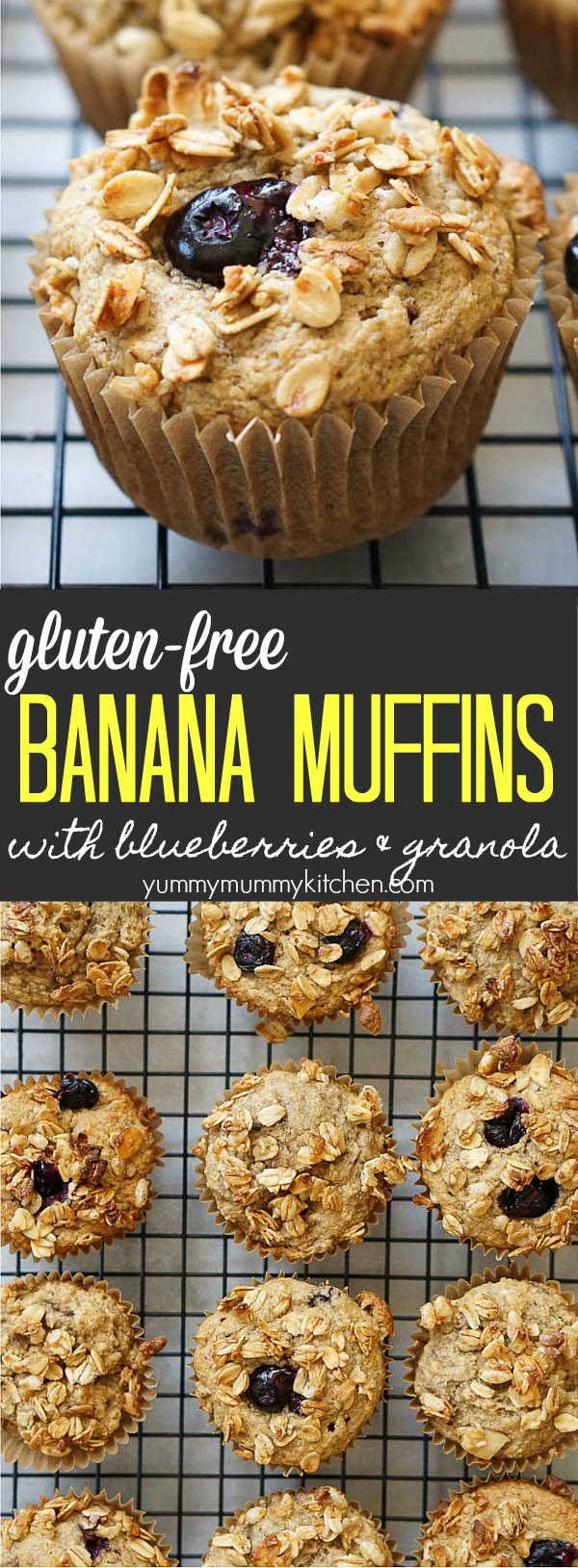 Gluten free vegan banana muffins made with healthy ingredients like oat flour, maple syrup, flax, and coconut oil. Add blueberries and top with granola for an extra delicious breakfast.