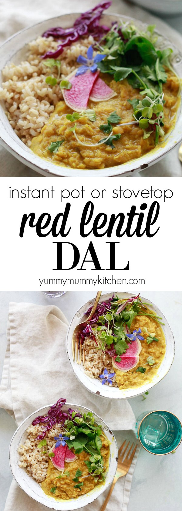 Easy red lentil dal recipe made with coconut milk. This red lentil or masoor dal is made on the stovetop or Instant Pot for an easy vegan dinner.