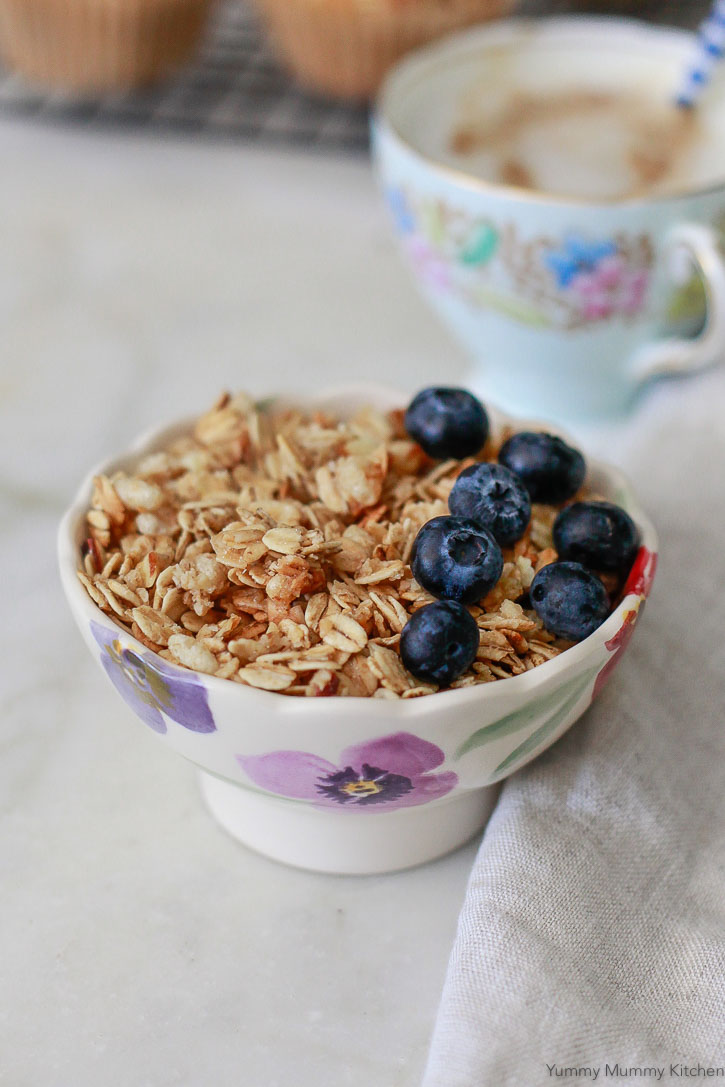 A small bowl of granola and blueberries.