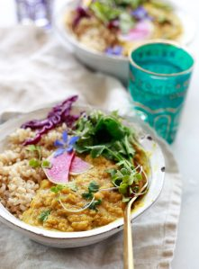 Easy vegan red lentil dal made with coconut milk.