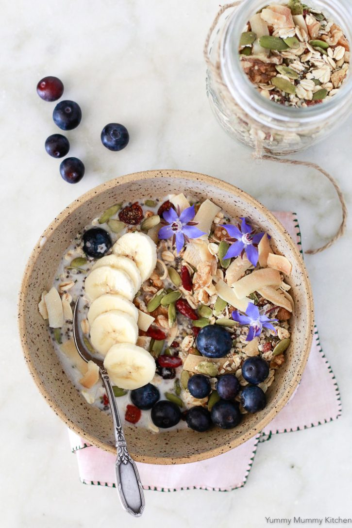 This easy muesli recipe makes a healthy vegan breakfast. It can be soaked overnight or eaten hot or cold. This muesli is loaded with superfoods like chia, hemp, and pumpkin seeds.