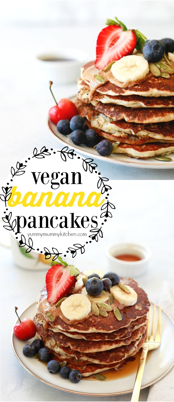 Easy vegan banana pancakes made with oats and chia seeds and topped with almond butter, berries, and pepitas. These one-bowl banana pancakes make a great plant-based vegan breakfast or brunch. No one can tell they are dairy-free, egg-free, and easy to make gluten-free!
