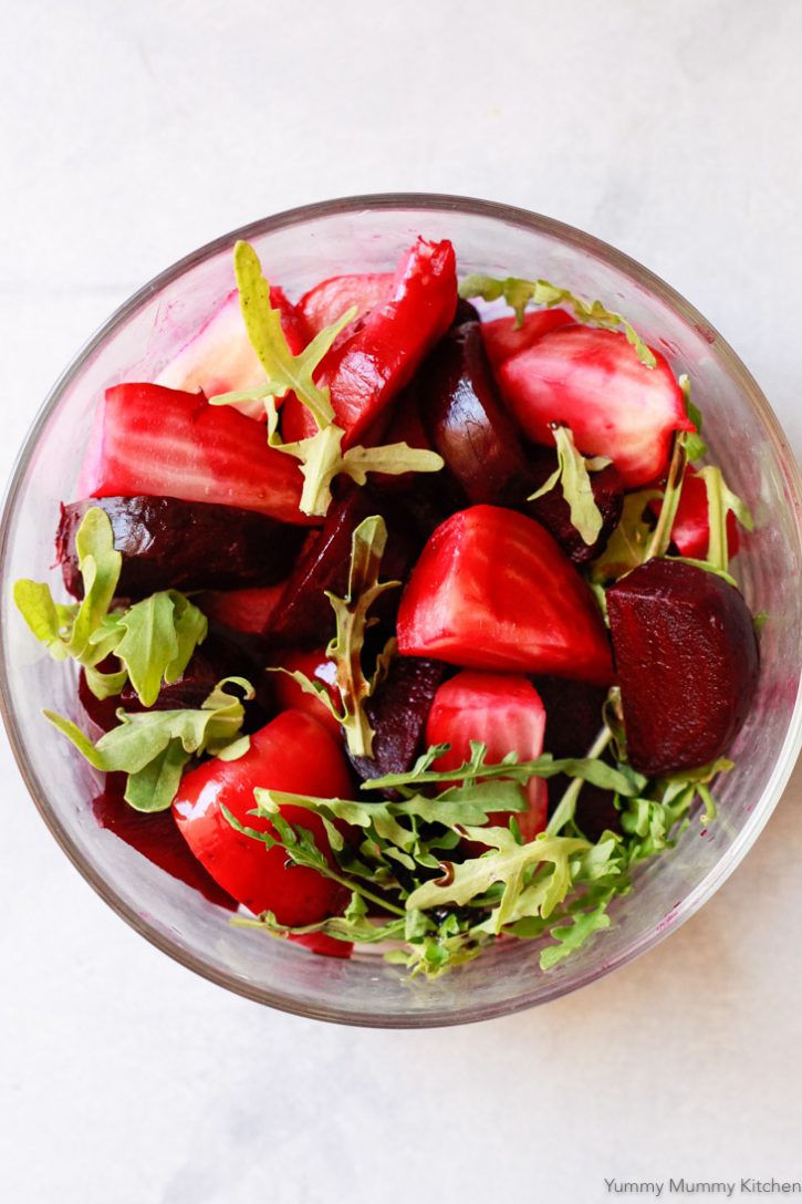 A simple roasted beet salad with arugula and balsamic.