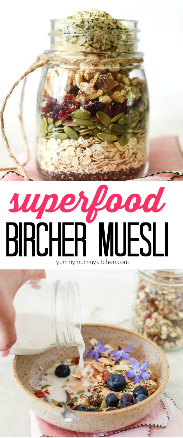This easy superfood bircher muesli recipe makes a beautiful homemade edible gift and healthy breakfast. Muesli can be eaten hot or cold and made the night before. This superfood muesli is loaded with chia, hemp, and pumpkin seeds, oats, dried fruit, and nuts. It's a healthy vegan and gluten free breakfast idea.