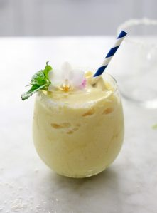 Beautiful healthy virgin pina colada recipe made with frozen pineapple and coconut milk. This easy virgin pina colada is vegan and refined sugar free.