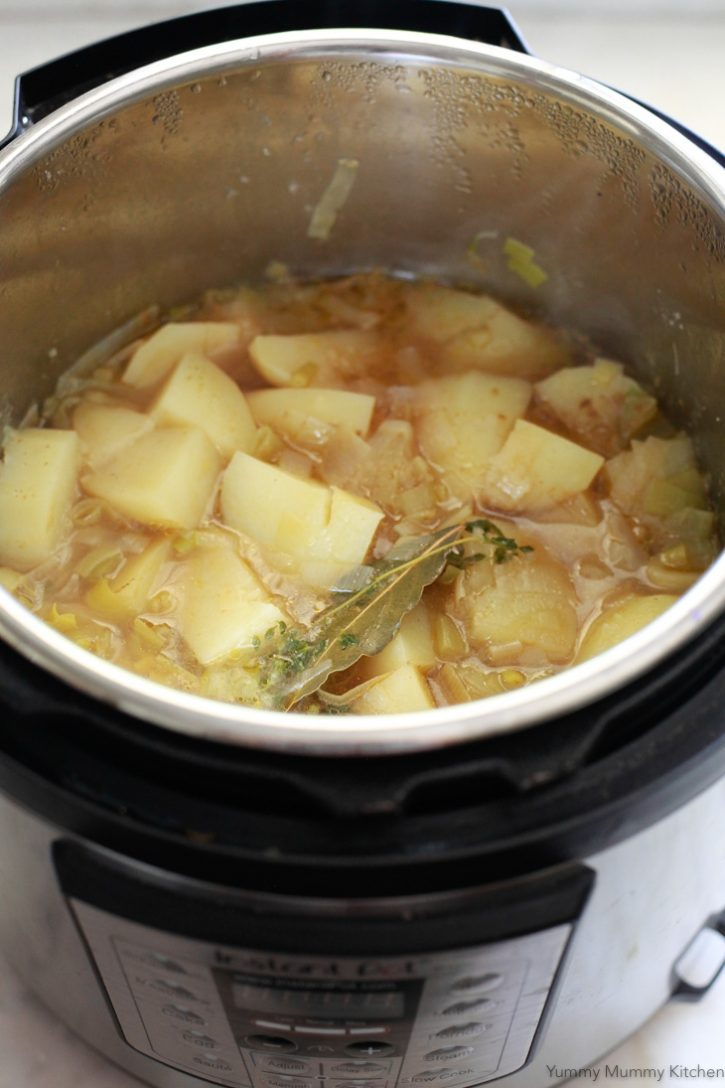 Instant Pot potato soup ready to get pureed.