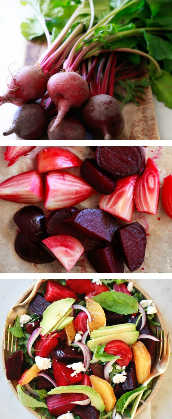 Find out how to roast beets without foil in a Dutch oven. This easy method creates the best sweet and juicy roasted beet roots. Roasted beets are delicious with a drizzle of balsamic or in this salad with avocado, citrus, and basil.