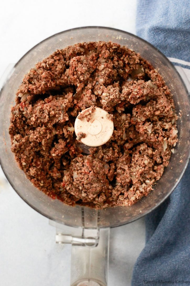 Vegan meatball mixture blended in a food processor before making balls and baking in the oven.