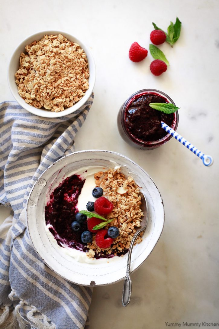 Blueberry chia jam is delicious on top of a vegan breakfast bowl with coconut yogurt, granola, and fresh berries. Find out how to make chia jam with this easy and healthy recipe.