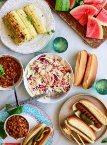 A beautiful vegan BBQ spread with homemade vegan coleslaw.
