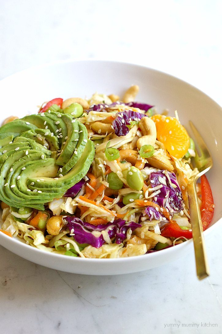 Asian cabbage salad with edamame and sesame ginger dressing is a great way to use coleslaw mix.