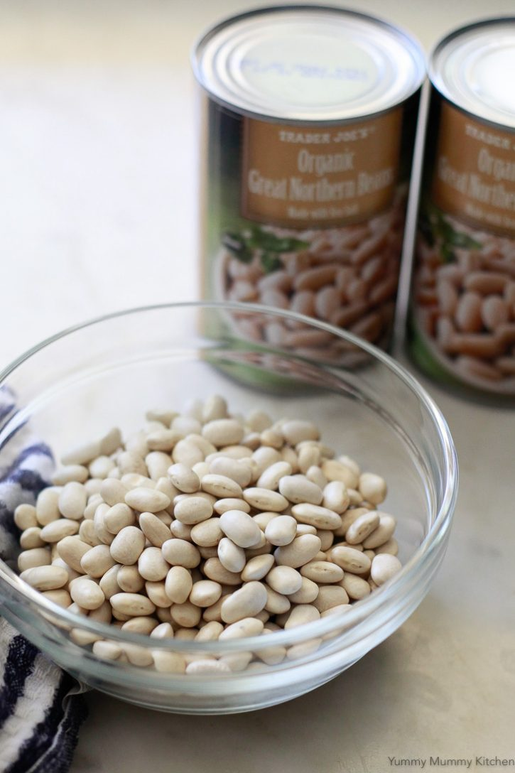Either dried or canned white great northern beans can be used to make vegetarian baked beans.
