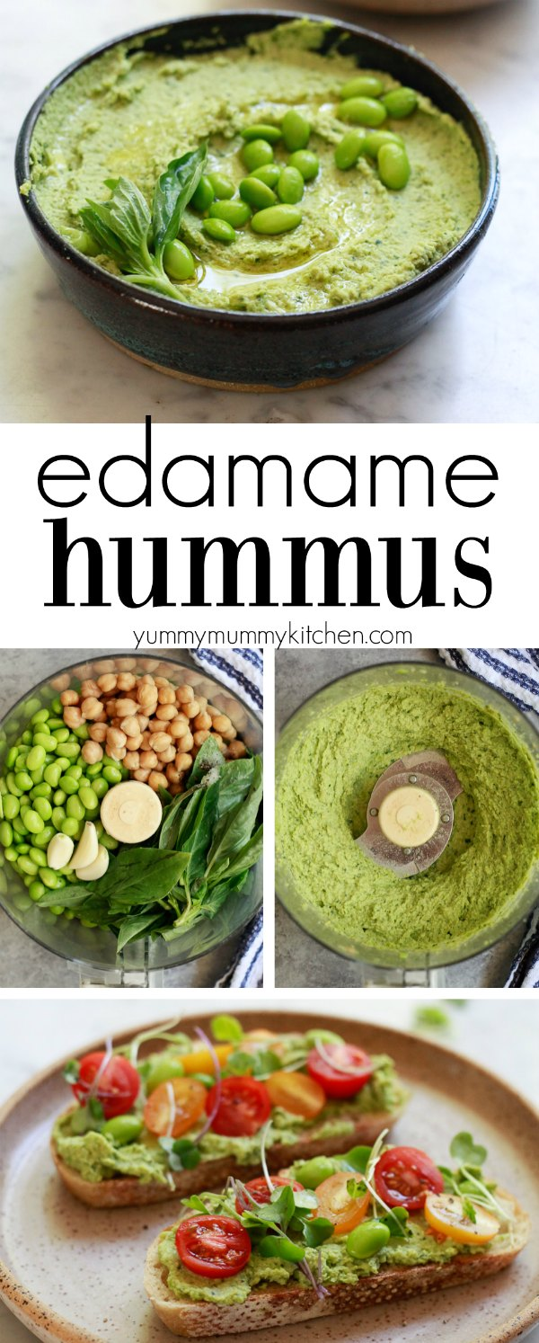 How to make delicious and healthy edamame hummus without tahini. This easy edamame hummus is a great source of plant-based protein and a delicious party dip hummus or spread for hummus wraps and veggie sandwiches. I love making this edamame basil hummus for food prep days.