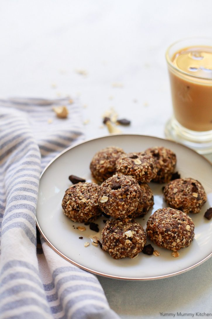No bake healthy oatmeal cookies on a plate. This easy no-bake cookie recipe is vegan and gluten free.