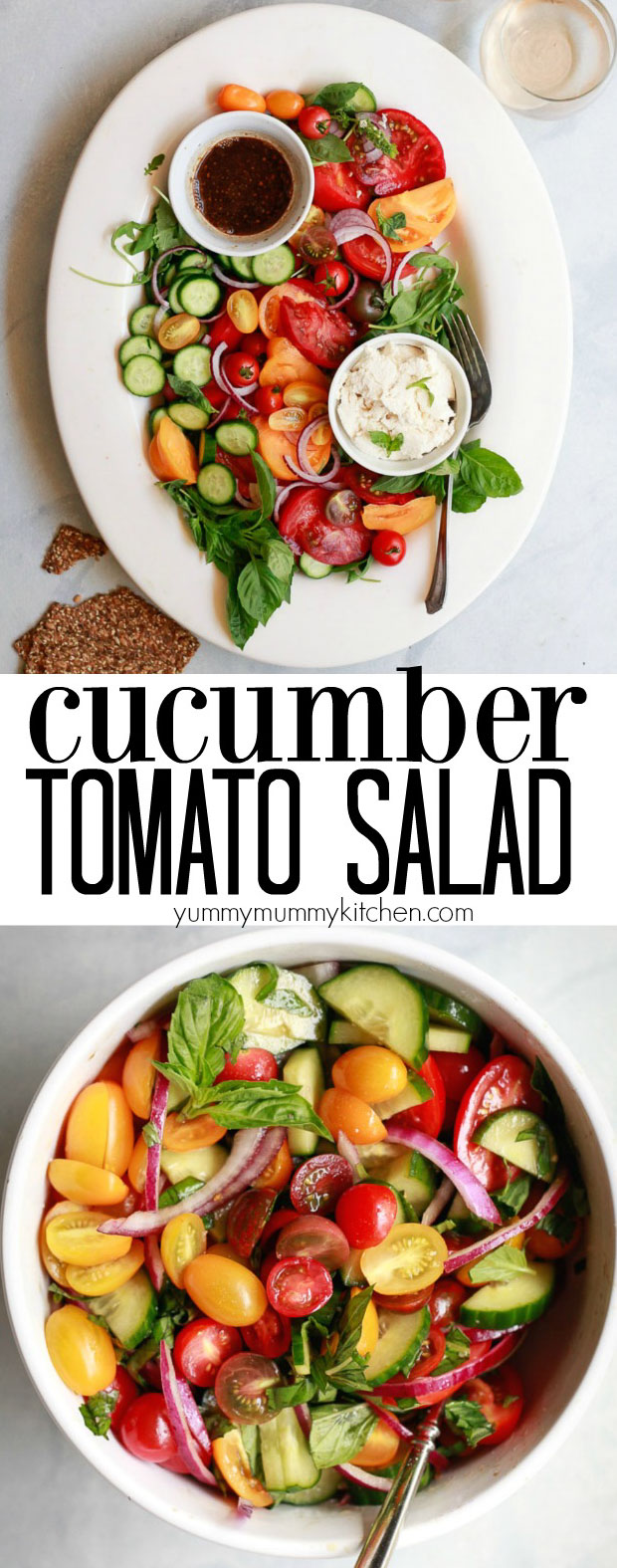 Cucumber, Tomato, Onion Salad with basil and an oil-free balsamic vinaigrette is a beautiful summer salad perfect for Labor Day or any day. This easy fresh heirloom tomato salad is vegan and gluten free. It makes a delicious side dish or salad for parties.